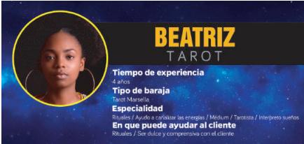 Beatriz cumple con los requisitos para ser una de las videntes y tarotistas que atienden por teléfono en Zaragoza. ¡Su tarot es bueno, fiable y barato!